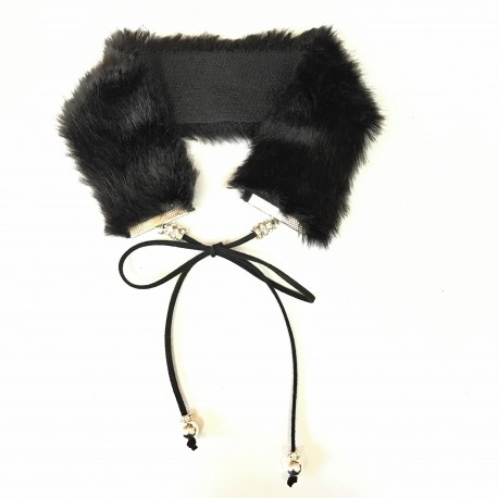 Jet Set Faux Fur Choker in Black